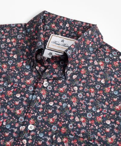 KOŠILE BROOKS BROTHERS LUXURY COLLECTION MILANO SLIM-FIT SPORT SHIRT, BUTTON-DOWN COLLAR ROSE PRINT