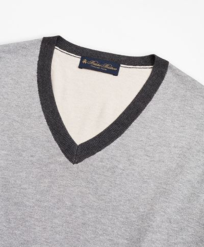 SVETR BROOKS BROTHERS SWT ML SILK COTTON COLORBLOCK VNECK COLOR BLOCK GREY