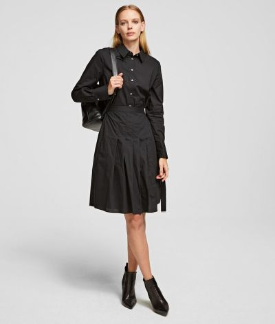 ŠATY KARL LAGERFELD POPLIN SHIRT DRESS W/ PLEATS