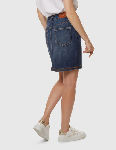 SUKN? LA MARTINA WOMAN DENIM SKIRT BLUE DENIM S