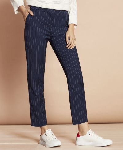KALHOTY BROOKS BROTHERS STRIPED STRETCH-WOOL TAPERED PANTS