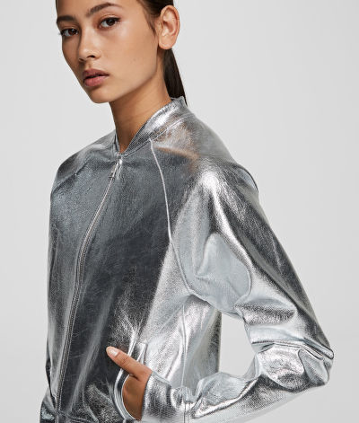 MIKINA KARL LAGERFELD SILVER COATED BOMBER