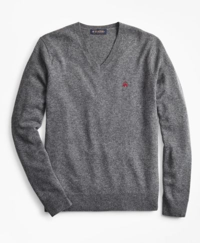 SVETR BROOKS BROTHERS LAMBSWOOL V-NECK SWEATER