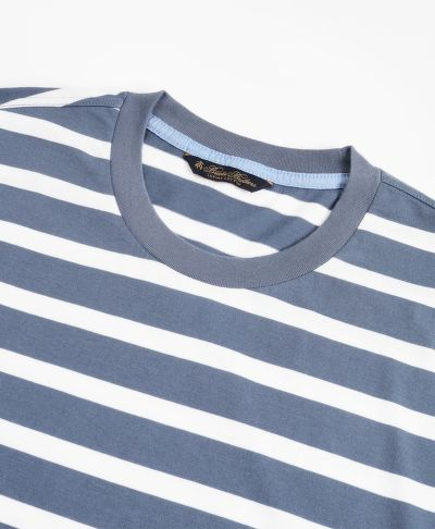TRI?KO BROOKS BROTHERS KNT ML SUPIMA STRIPE T-SHIRT NAVY