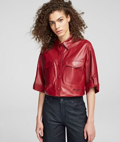 KOŠILE KARL LAGERFELD FAUX LEATHER SSLV SHIRT