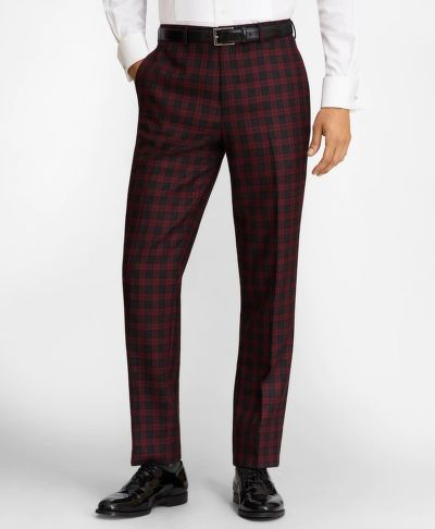 KALHOTY BROOKS BROTHERS REGENT FIT RED PLAID WOOL TROUSERS
