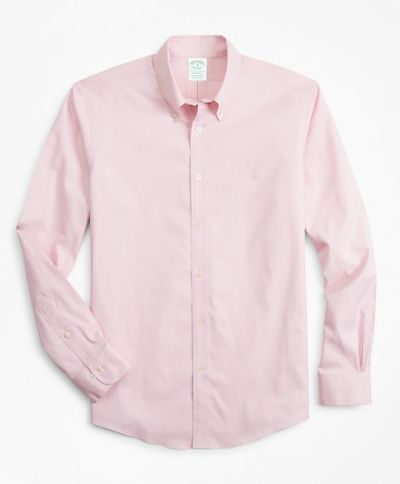 KOŠILE BROOKS BROTHERS SPT ML NI STRETCH PINPOINT SOLID MILANO PINK