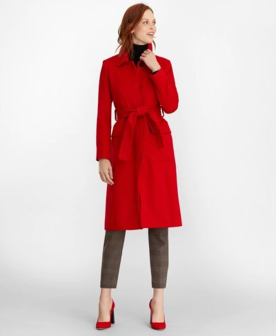 KABÁT BROOKS BROTHERS BRUSHED WOOL TWILL WRAP COAT