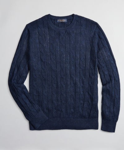 SVETR BROOKS BROTHERS SWT ML LINEN CLASSIC CABLE CREWNECK NAVY BLUE MARL
