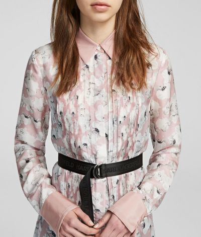 šaty ORCHID PRINT SILK SHIRT DRESS