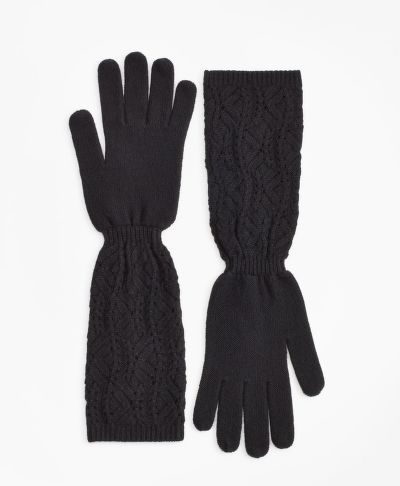 RUKAVICE BROOKS BROTHERS POINTELLE CABLE-KNIT CASHMERE GLOVES