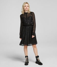 ŠATY KARL LAGERFELD LEOPARD JACQUARD SHIRT DRESS