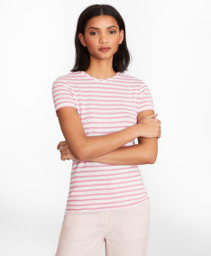 TRIČKO BROOKS BROTHERS KNT TOP LI VI SS ROSE/WHITE STRIPE