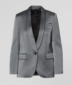 SAKO KARL LAGERFELD SATIN BLAZER W/ PIPING