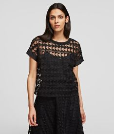 HALENKA KARL LAGERFELD KARL EMBROIDERED MESH TOP