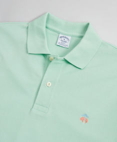 POLOKOŠILE BROOKS BROTHERS KNT SS SUPIMA PERF POLO SLIM MIST GREEN