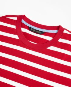TRIČKO BROOKS BROTHERS KNT ML SUPIMA STRIPE T-SHIRT JESTER RED