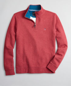 SVETR BROOKS BROTHERS KNT ML BRUSHED TERRY HALF ZIP DK RED HEATHER