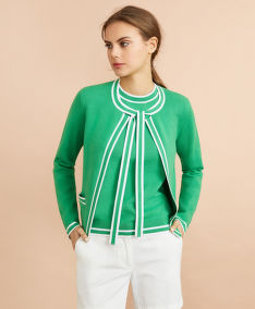 SVETR BROOKS BROTHERS SWT CTN NYLON CARDI BOW GREEN WHITE STRIPE