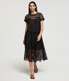 SUKNĚ KARL LAGERFELD KARL EMBROIDERED MESH SKIRT