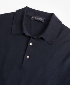 SVETR BROOKS BROTHERS SWT ML SILK COTTON LS POLO MED BLUE