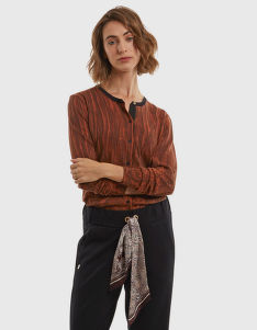 SVETR LA MARTINA WOMAN CARDIGAN ALL OVER PRINTE