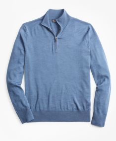 SVETR BROOKS BROTHERS SWT WL EASY CARE HALF ZIP NEW MED BLUE