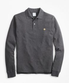 POLOKOŠILE BROOKS BROTHERS KNT LS SUPIMA CORE POLO SLIM CHARCOAL