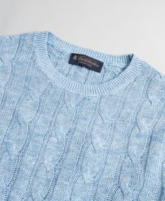 SVETR BROOKS BROTHERS SWT ML LINEN CLASSIC CABLE CREWNECK DENIM BLUE HTR