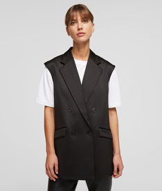 VESTA KARL LAGERFELD TAILORED GILET W/ PLEATED BACK
