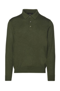 SVETR BROOKS BROTHERS SWT ML SILK COTTON LS POLO MILITARY GREEN