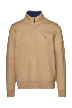 SVETR BROOKS BROTHERS KNT ML BRUSHED TERRY HALF ZIP MED BWN HTHR