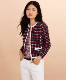 SAKO BROOKS BROTHERS JKT CTNSBLEND PLAID NVYRDIVRYPLD