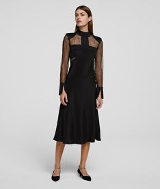 ŠATY KARL LAGERFELD LACE & SILK MIDI DRESS