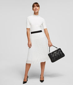 SUKNĚ KARL LAGERFELD PLEATED SKIRT W/ LOGO